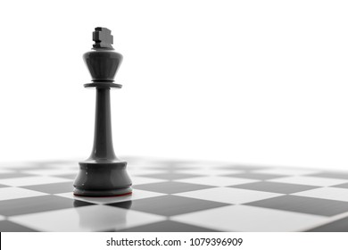3d illustration of a black king on a chess board