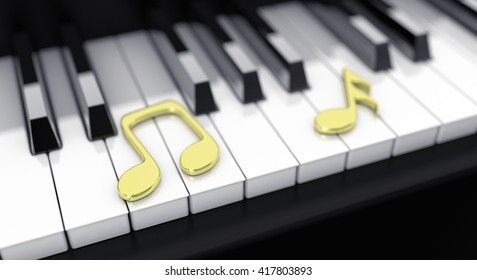 3d illustration black piano with gold notes