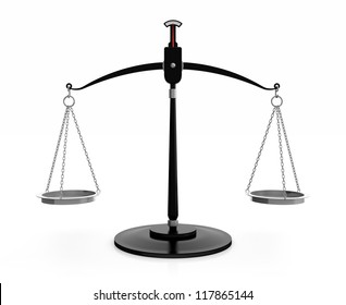 3D illustration of black scales of justice isolated on white background