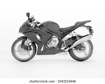 3d illustration of a black sport bike isolated on a white background.