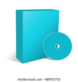 3d illustration blank box and cd or dvd disk