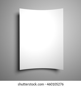 3D illustration of blank flyer poster isolated on the grey background to replace your design.