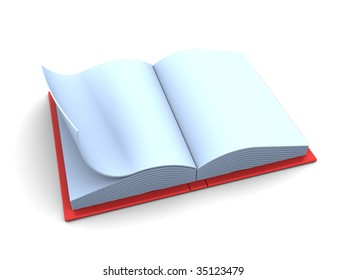 3d illustration of blank opened book over white background