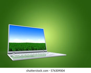 3d illustration of blank over green background with computer