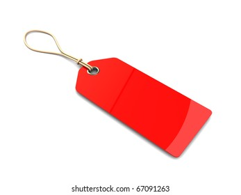 3d illustration of blank red tag over white background