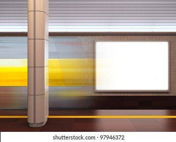 A 3d illustration of blank template billboard at subway station.