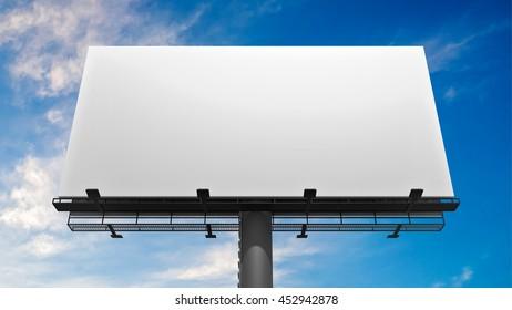 3D illustration of blank white billboard against blue sky.