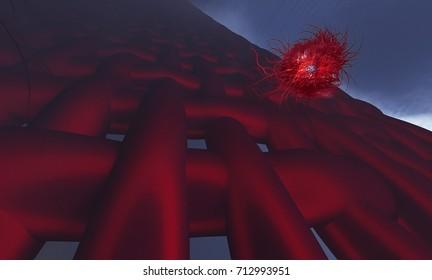 3d illustration Blood vessel with flowing blood cells fiber and virus