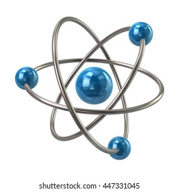 3d illustration of blue atom molecule isolated on white background