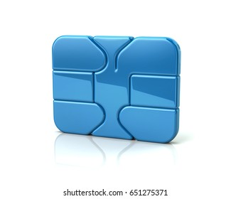 3d illustration of blue business credit debit card bank ATM chip icon the symbol of finance and security
