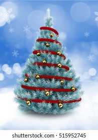 3d illustration of blue Christmas tree over snow background with red tinsel and golden balls