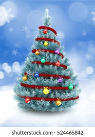3d illustration of blue Christmas tree over snow background with red tinsel and glass balls