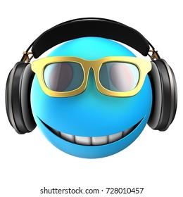 3d illustration of blue emoticon smile with black headphones over white background