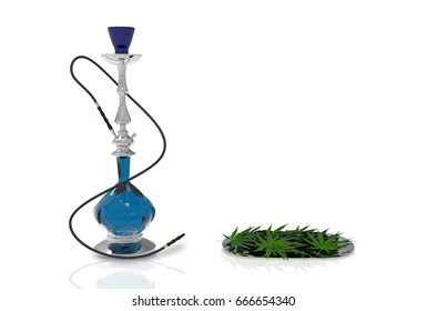 3d illustration. blue glass hookah and marijuana cannabis leaf on steel tray on white background
