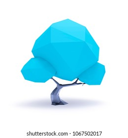 3d illustration of a blue low poly tree background