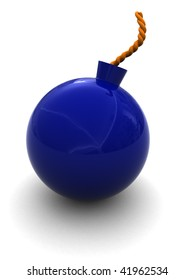 3d illustration of blue plastic bomb over white background