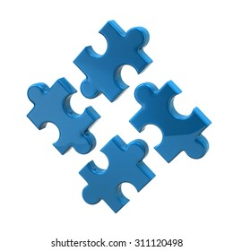 3d illustration of blue puzzle icon