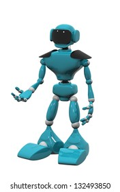 3d illustration of a blue robot on white background