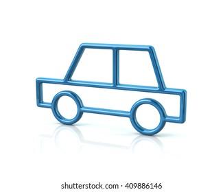 3d illustration of blue sedan car icon isolated on white background