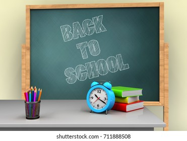 3d illustration of board with back to school text and alarm clock