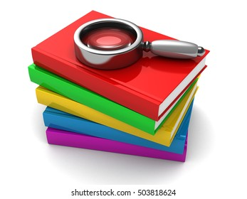 3d illustration of books stack and magnifying glass on it