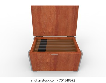 3d illustration of box with cigars. white background isolated. icon for game web.