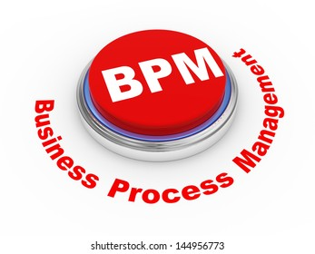 3d illustration of bpm business process management button.