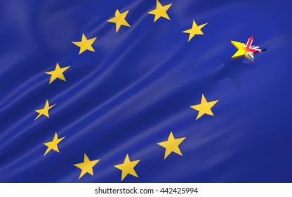 3D illustration of brexit concept with European Union flag and the Great Britain star leaving
