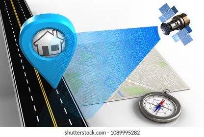 3d illustration of bright map with home point and compass