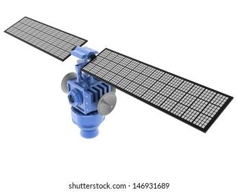 3d illustration of broadcasting satellite isolated over white background