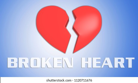 3D illustration of BROKEN HEART title on red broken heart, isolated blue grad.