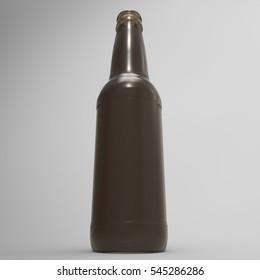 3D Illustration Of A Brown Glass 12 Ounce Beer Bottle On A Masked Transparent Background