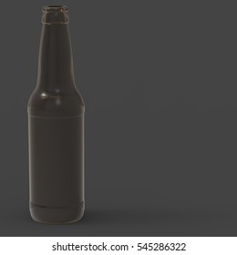 3D Illustration Of A Brown Glass 12 Ounce Beer Bottle On A Masked Transparent Background