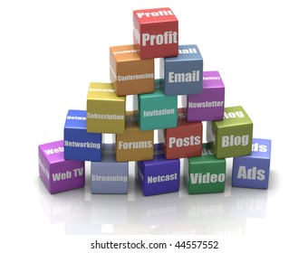 3D illustration of building blocks representing various social media, arranged in a pyramid with profit on top, isolated in white background