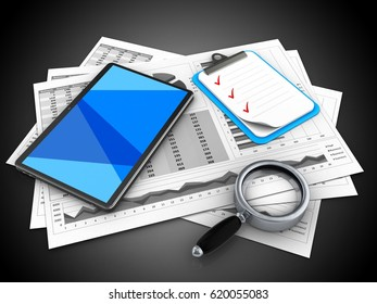 3d illustration of business charts and tablet computer over black background with clipboard