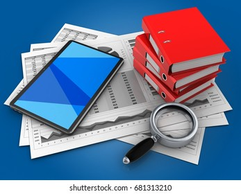 3d illustration of business charts and tablet computer over blue background with binder folders