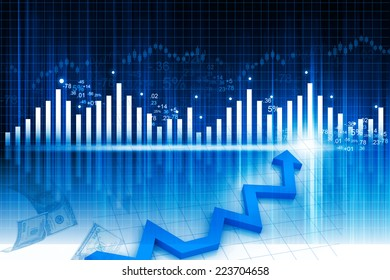 3d illustration of Business graph on abstract financial background