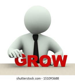 3d illustration of business person placing word grow.  3d rendering of human people character.