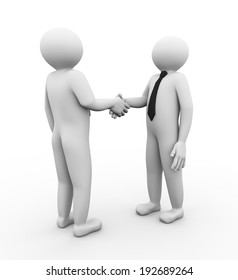 3d illustration of business person shaking hands. 3d human person character and white people