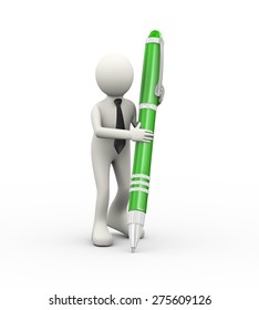 3d illustration of business person writing with large pen. 3d human person character and white people
