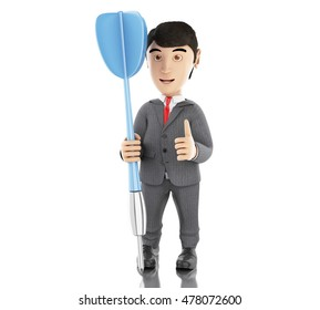3d Illustration. Businessman with a blue dart. Business concept. Isolated white background.