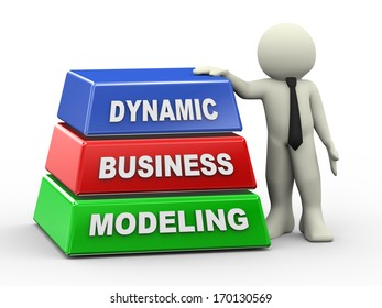 3d illustration of businessman with dynamic business modeling pyramid