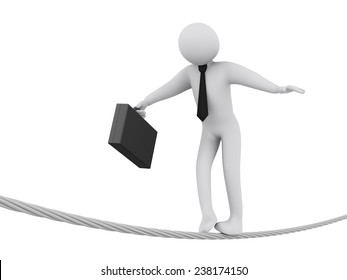 3d illustration of businessman walking on rope.  3d rendering of people - businessman human character.