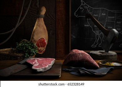 3D illustration of butcher's place