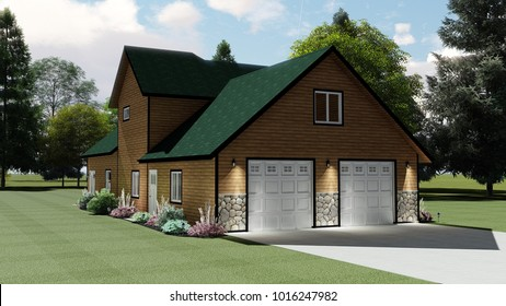 3D Illustration of a Cabin Style House