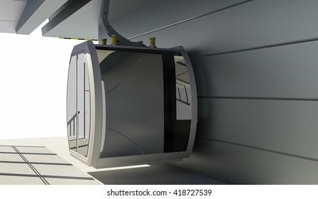 3D Illustration of Cableway Station