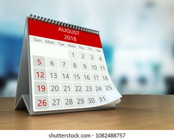 3d illustration of calendar on table desktop  in office, august 2018 page