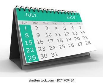 3d illustration of calendar over white background july 2018 month
