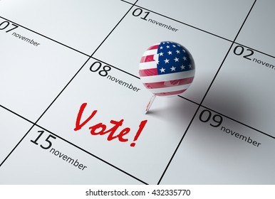 3D illustration of a calendar showing the day of elections in USA 2016 17