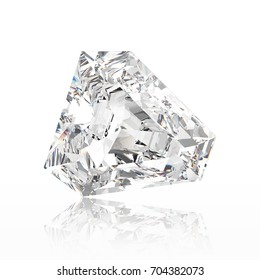 3D illustration calf diamond stone with reflection on a white background